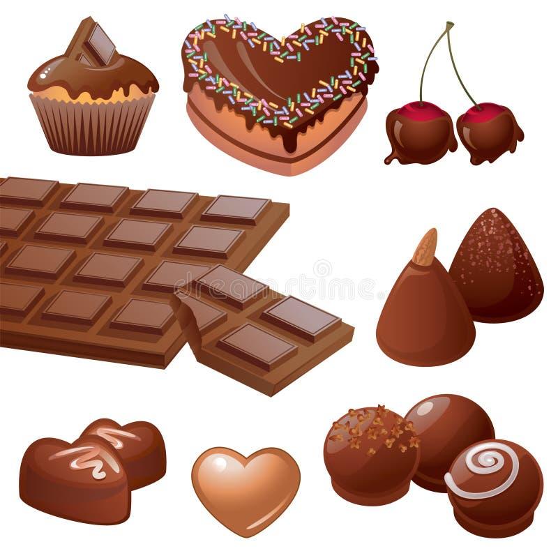 Köstliche Schokoladenbonbonansammlung lizenzfreie abbildung