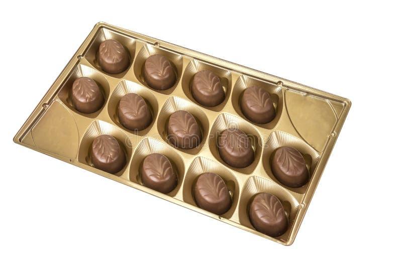 Köstliche Schokoladenpralinen auf dem Weiß Süße Süßigkeit stockfoto