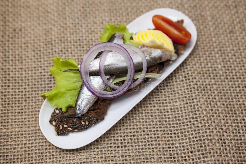 Köstliche spanische Tapas mit der Butter- und Zwiebelsalatsprotte, atlantisch auf Scheibenstangenbrot Ein ausgezeichneter Hinterg stockbilder