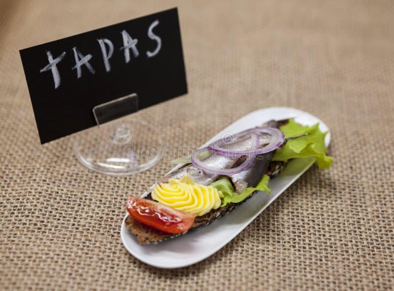 Köstliche spanische Tapas mit der Butter- und Zwiebelsalatsprotte, atlantisch auf Scheibenstangenbrot Ein ausgezeichneter Hinterg lizenzfreie stockbilder