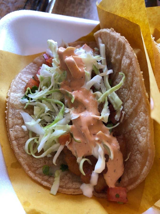 Köstliche Tacos der frischen Fische von den Straßen von Mexiko lizenzfreie stockbilder