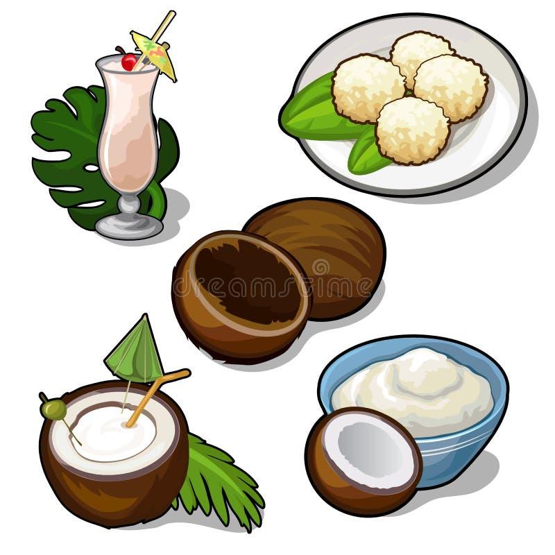 Köstliche Teller gemacht von der tropischen Kokosnuss stock abbildung