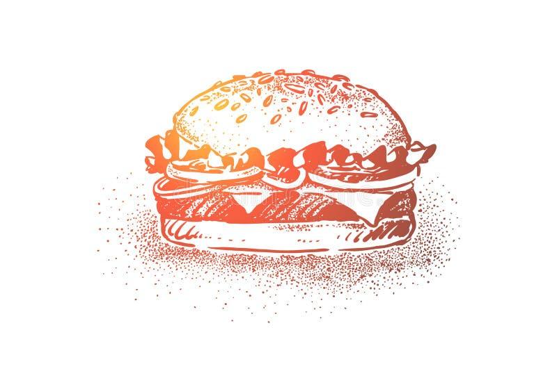 Köstlicher Burger, klassische Straßennahrung, Brötchen des indischen Sesams mit, gegrilltes Kotelett, Salat, Tomate und Käse stock abbildung