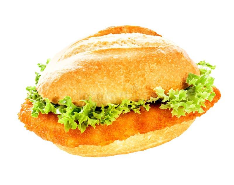Köstlicher Fischburger auf einem krustigen Brötchen stockfotos