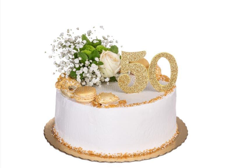 Köstlicher Jubiläumkuchen für fünfzig Jahre stockbilder