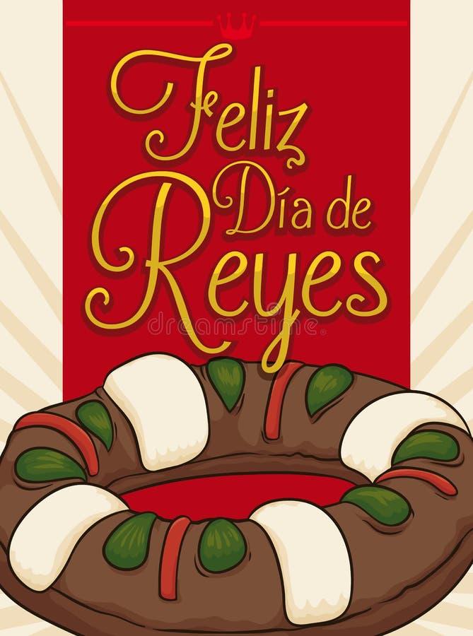 Köstlicher Könige ` Kuchen für Offenbarungs-Feiertag auf spanisch, Vektor-Illustration lizenzfreie abbildung