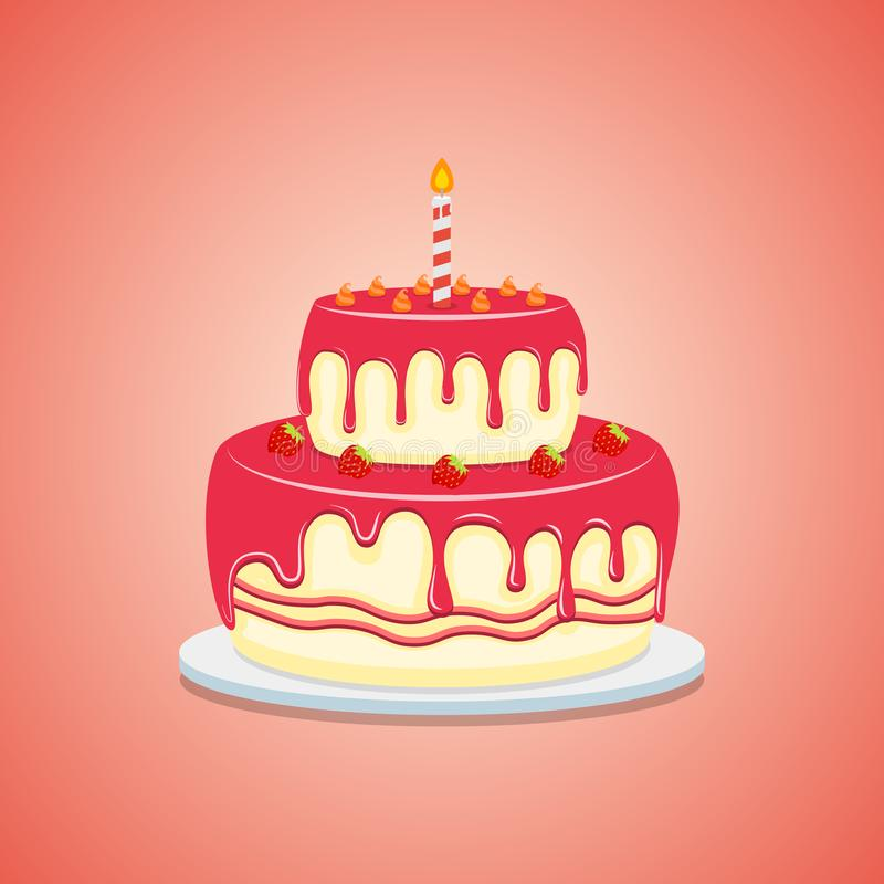 Köstlicher Kuchen mit sahnigem, Erdbeerflache Art Vektorillustrationsikone lokalisiert auf wei?em Hintergrund lizenzfreie abbildung