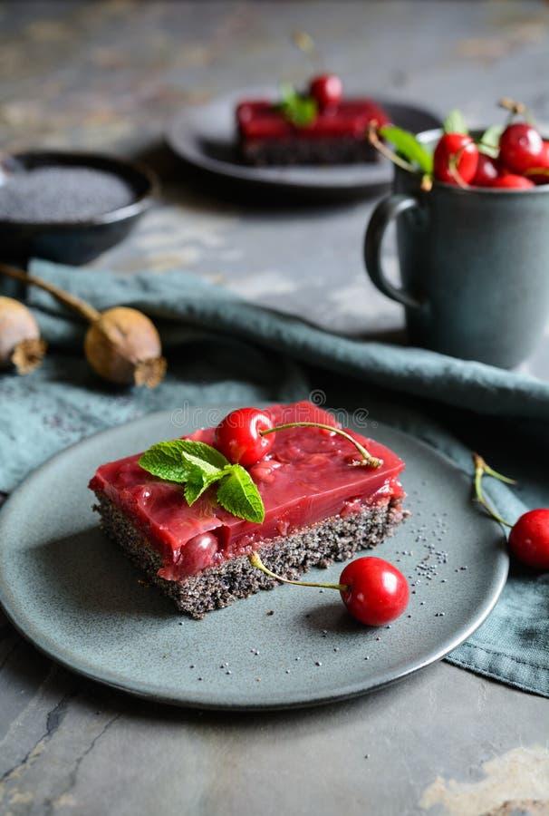 Köstlicher Mohnkuchen mit Kirschvanillepudding lizenzfreies stockbild