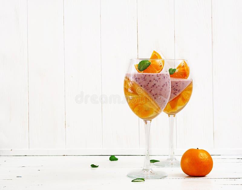Köstlicher Nachtisch Panna Cotta mit Himbeeren-coulis und Tangerinegelee lizenzfreies stockfoto