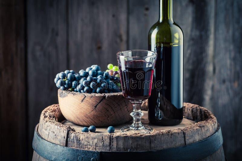 Köstlicher Rotwein mit frischen Trauben auf Eichenfaß stockbilder