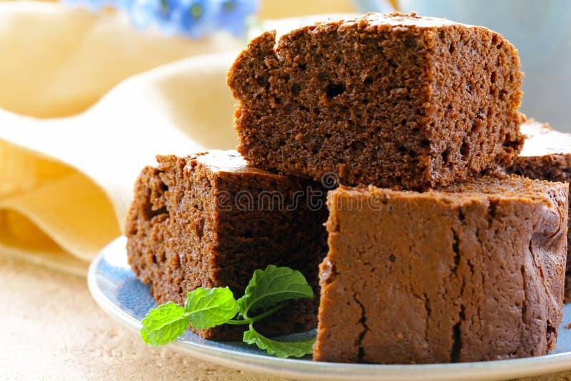 Köstlicher selbst gemachter Schokoladenschokoladenkuchenkuchen stockfoto