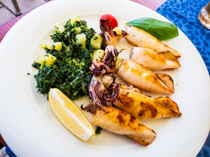 Köstlicher Teller der Mittelmeernahrung mit gegrillten Kopffüßern stockfotos