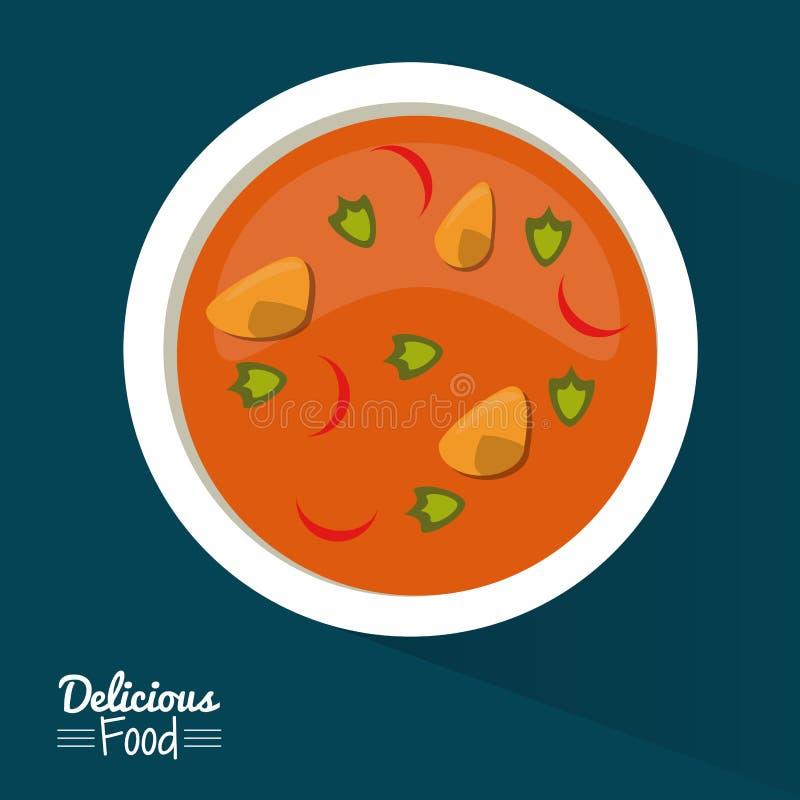 Köstliches Lebensmittel des Plakats im dunkelblauen Hintergrund mit Teller der Suppe mit Gemüse vektor abbildung