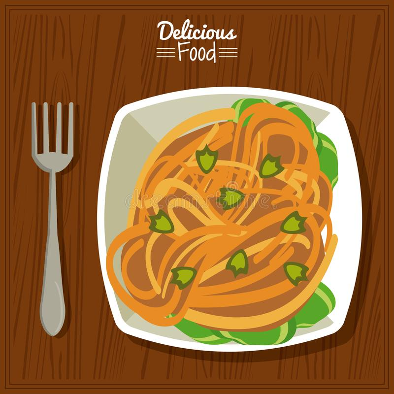 Köstliches Lebensmittel des Plakats im Küchentischhintergrund mit Gabel und Teller von Teigwaren mit Gemüse vektor abbildung