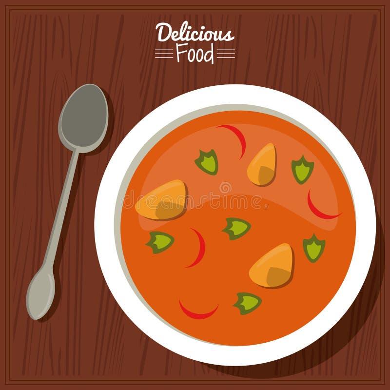Köstliches Lebensmittel des Plakats im Küchentischhintergrund und Tischbesteck mit Teller der Suppe mit Gemüse stock abbildung