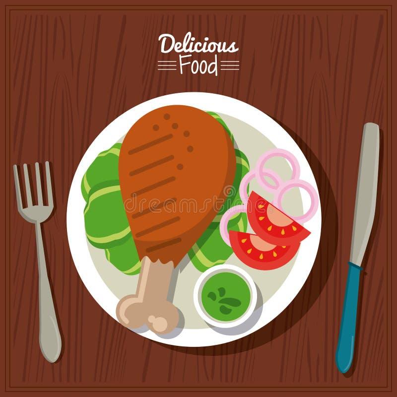 Köstliches Lebensmittel des Plakats im Küchentischhintergrund und Tischbesteck mit Teller des gebratenen Huhns mit Gemüse stock abbildung