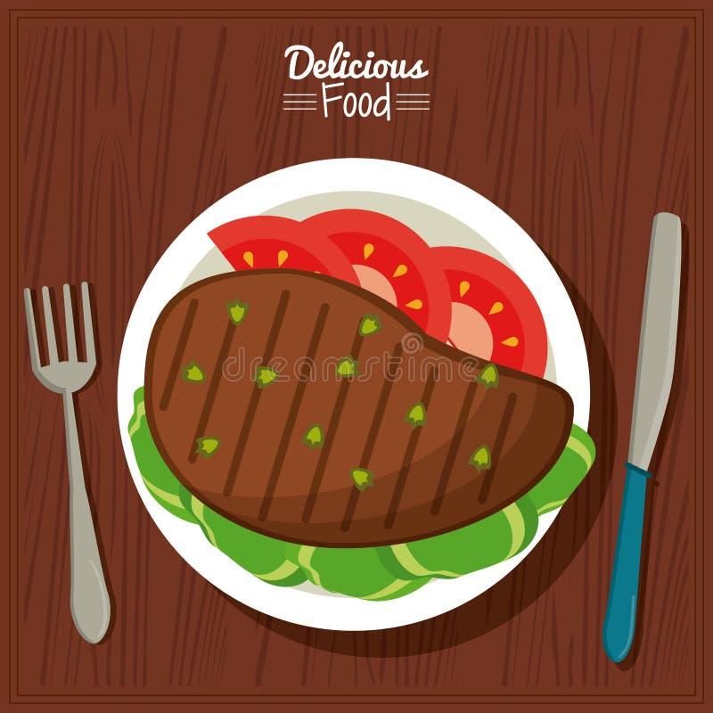 Köstliches Lebensmittel des Plakats im Küchentischhintergrund und Tischbesteck mit Teller des gegrillten Fleisches mit Gemüse stock abbildung