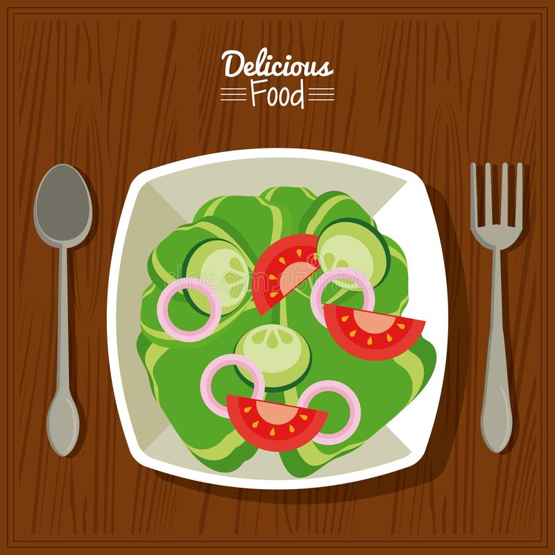 Köstliches Lebensmittel des Plakats im Küchentischhintergrund und Tischbesteck mit Teller des Salats des Gemüses lizenzfreie abbildung