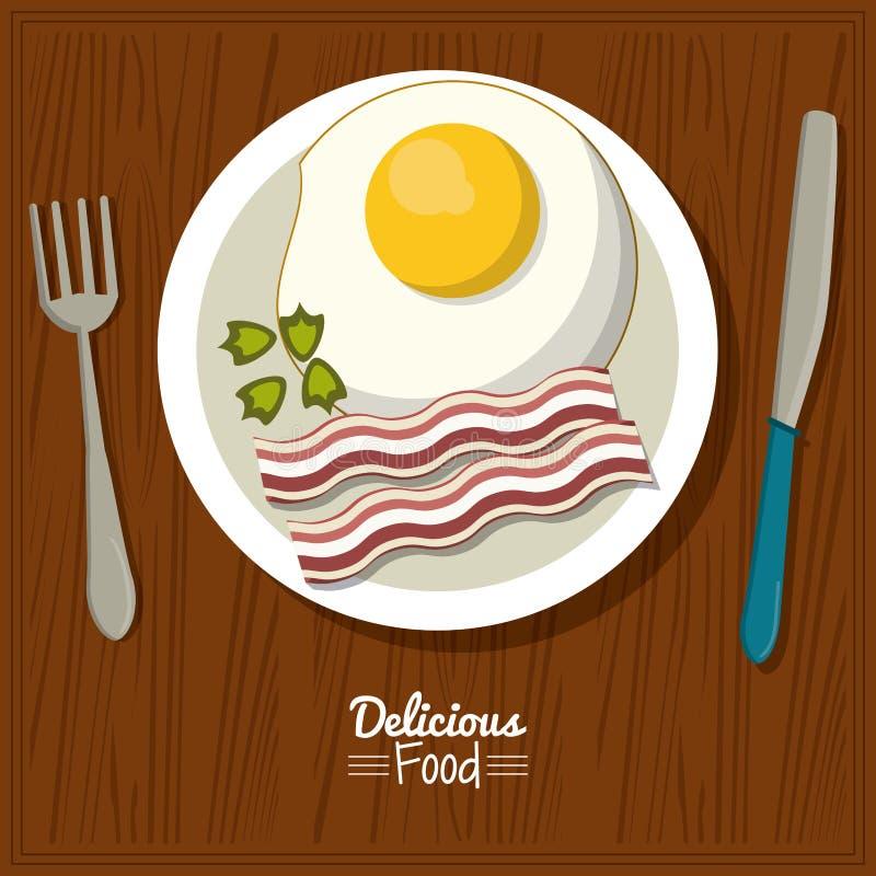Köstliches Lebensmittel des Plakats im Küchentischhintergrund und Tischbesteck mit Teller des Spiegeleies mit Speck vektor abbildung