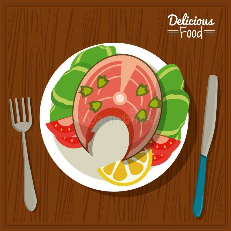 Köstliches Lebensmittel des Plakats im Küchentischhintergrund und Tischbesteck mit Teller von Fischen und von Gemüse lizenzfreie abbildung