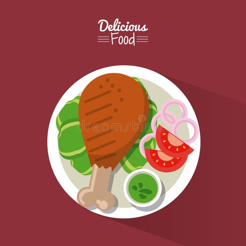 Köstliches Lebensmittel des Plakats im purpurroten Hintergrund mit Teller des gebratenen Huhns mit Gemüse lizenzfreie abbildung