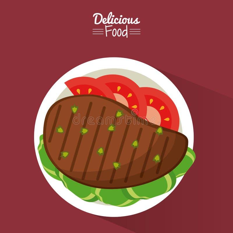 Köstliches Lebensmittel des Plakats im purpurroten Hintergrund mit Teller des gegrillten Fleisches mit Gemüse stock abbildung