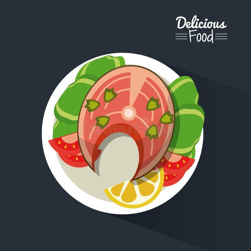 Köstliches Lebensmittel des Plakats im schwarzen Hintergrund mit Teller von Fischen und von Gemüse stock abbildung