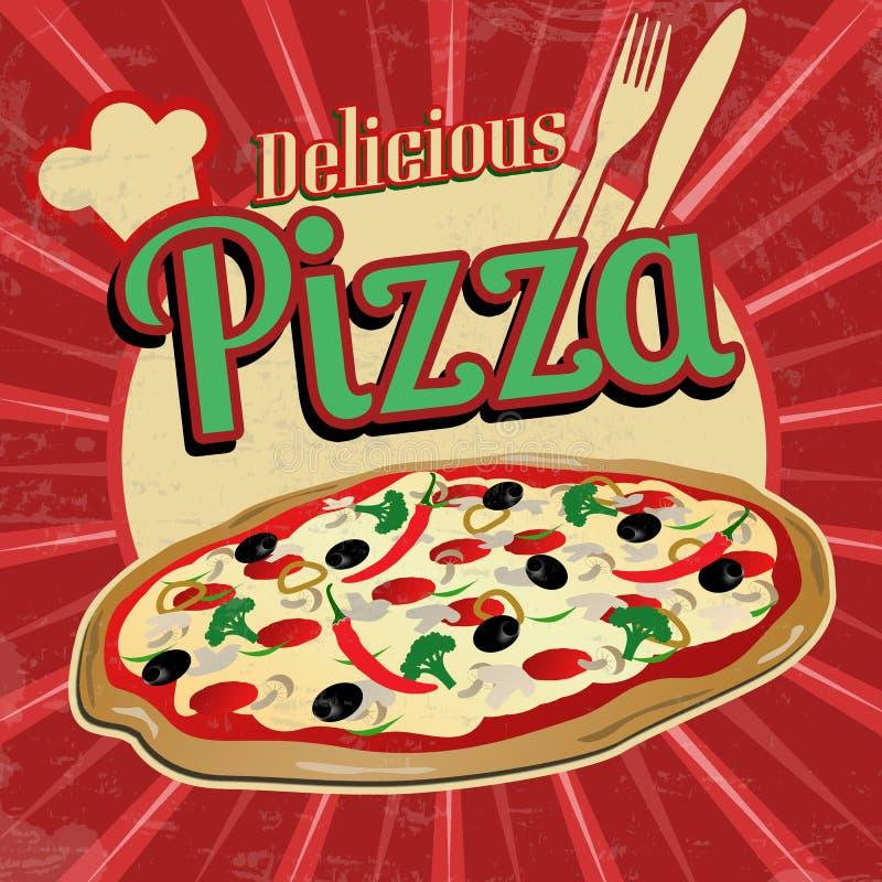 Köstliches Pizzaweinleseplakat vektor abbildung