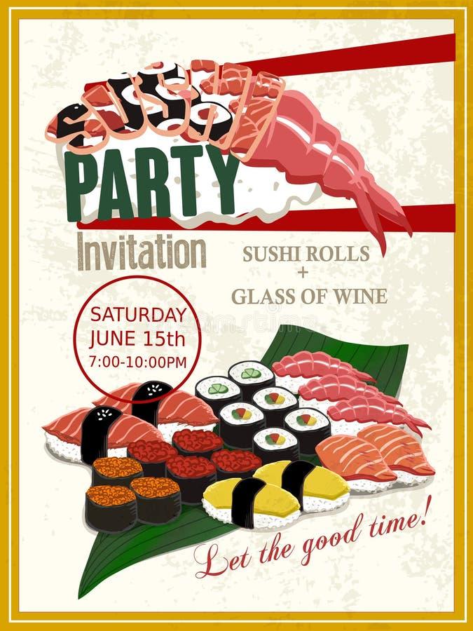 Köstliches Sushipartei-Einladungsplakat stock abbildung