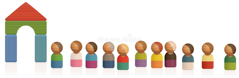 Kötillträdepassage Toy Figures Waiting Line stock illustrationer