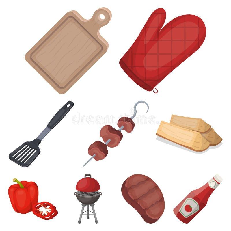 Kött, biff, vedträ, galler, tabell och annan tillbehör för grillfest BBQ ställde in samlingssymboler i tecknad filmstilvektor royaltyfri illustrationer
