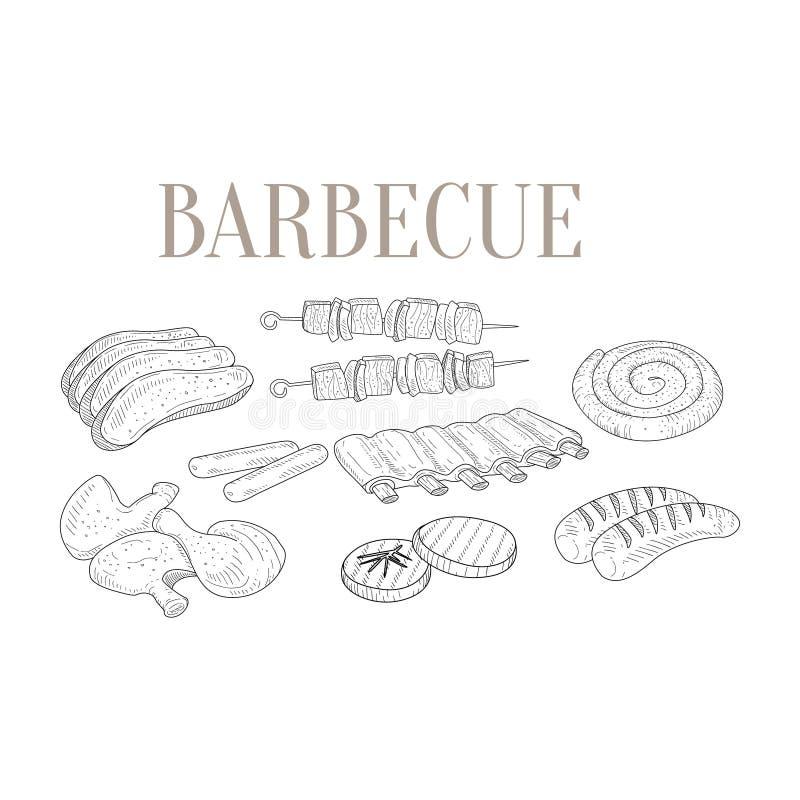 Kött för dragit realistiskt för grillfest handen skissar vektor illustrationer