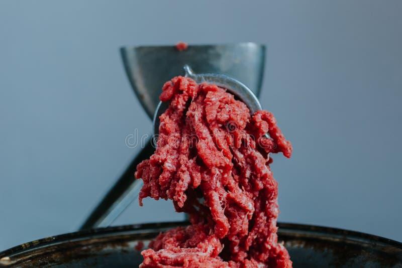 Kött, i att finhacka maskinen arkivbilder