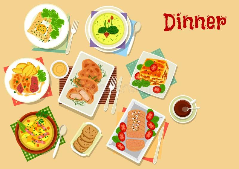 Kött- och potatisdisksymbolen för lunchmeny planlägger stock illustrationer
