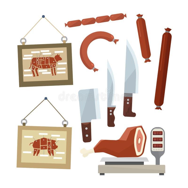 Kött och slaktare sänker designsymbolsuppsättningen stock illustrationer
