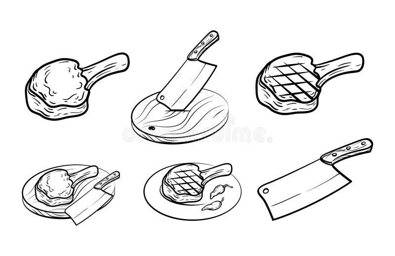 Kött på benet, kniven och kryddor Uppsättningen av vektorn skissar på vit vektor illustrationer