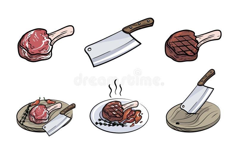 Kött på benet, kniven och kryddor Uppsättningen av vektorn skissar på vit royaltyfri illustrationer