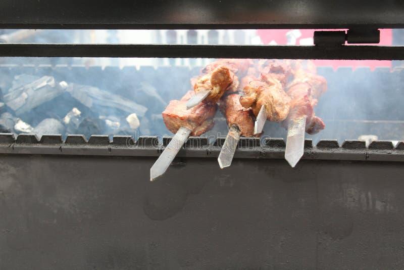 Kött på steknålar, på en öppen brand fotografering för bildbyråer