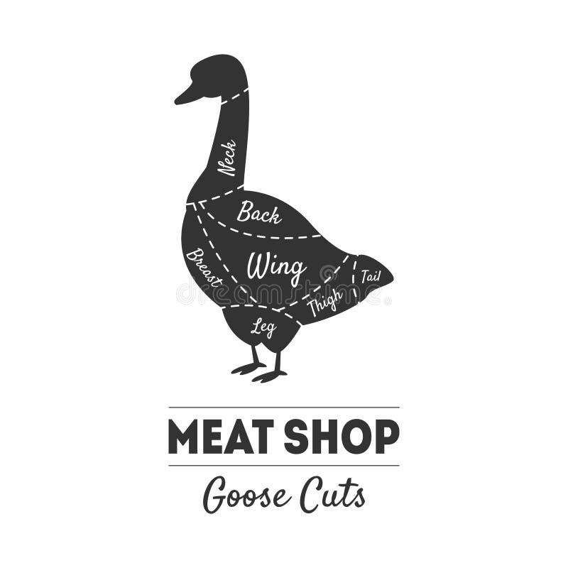Kött shoppar etiketten, gåssnitt, mördar urskillningslöst handboken, lantgårdhöns med köttsnittlinjer, svartvit vektor för tappni royaltyfri illustrationer