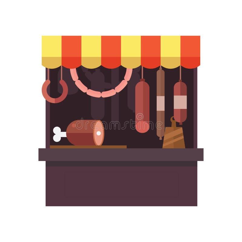 Kött shoppar stallen med köttprodukter vektor illustrationer