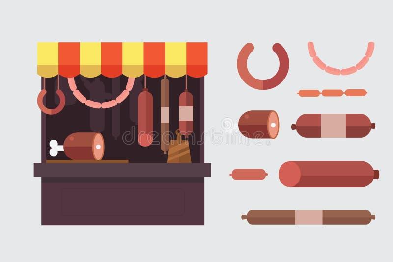 Kött shoppar stallen med köttprodukter royaltyfri illustrationer