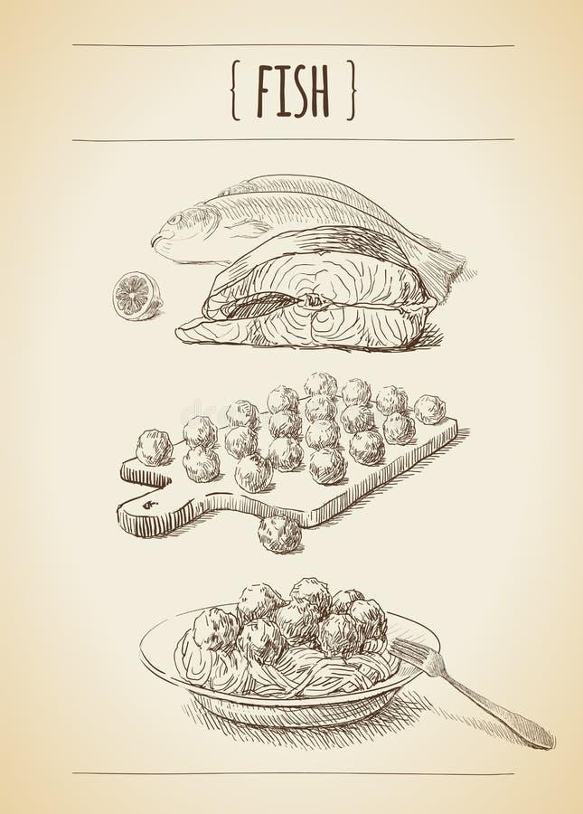 Kött skissar royaltyfri illustrationer