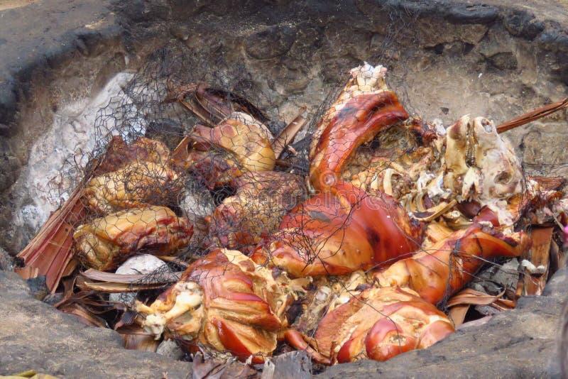 Kött som lagar mat i jordningen på gamla Lahaina Luau, Maui, Hawaii royaltyfri foto