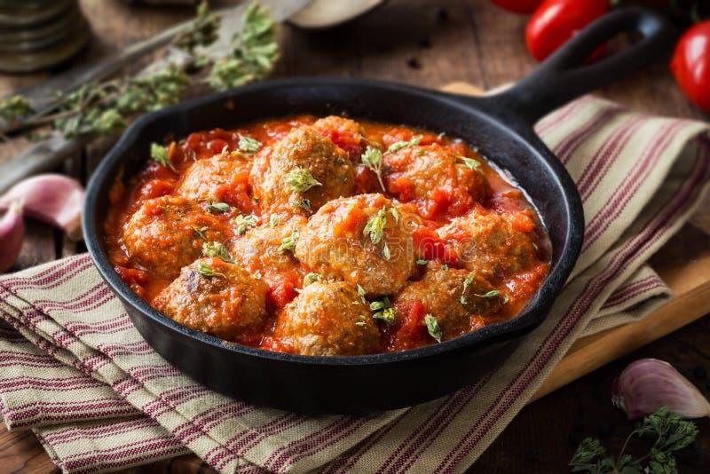 Köttbullar i tomatsause med oreganon royaltyfri fotografi