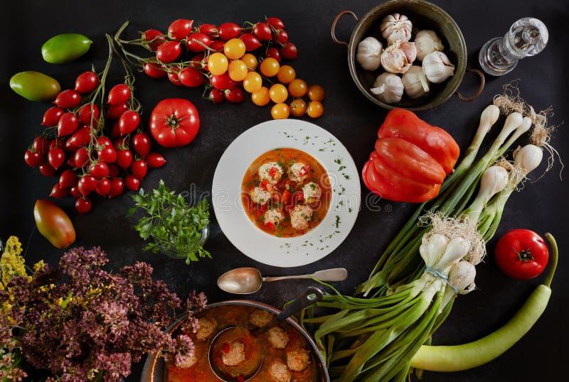 Köttbullar soppa och ingredienser royaltyfria bilder