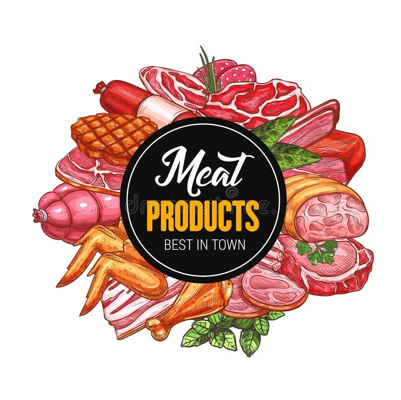 Köttföda, korv, salami, bacon och skinka royaltyfri illustrationer