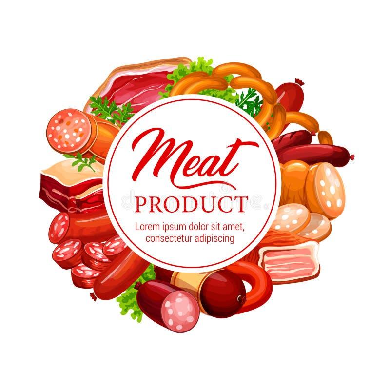 Köttkorv, skinka, salami, bacon med salladsidor royaltyfri illustrationer
