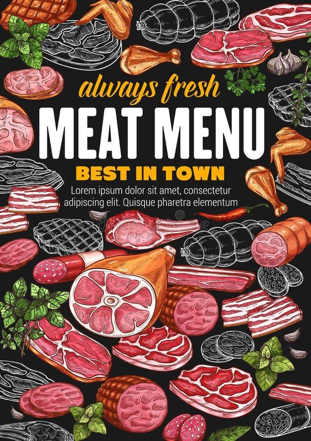 Köttkorvar, griskött, nötkött, skinka, salami, bacon vektor illustrationer