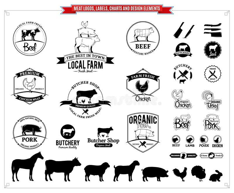 Köttlogoer, märker, diagram och designbeståndsdelar vektor illustrationer