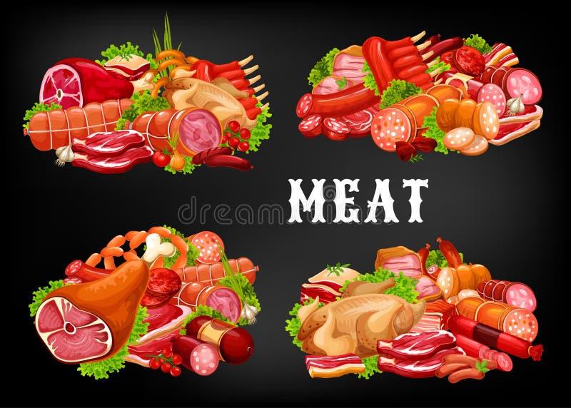 Köttmat, nötköttkorvar, grisköttskinka, salami, hebs stock illustrationer